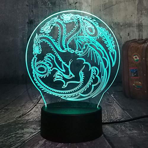 Lied Von Eis Und Feuer 3D Led Nachtlicht Usb Tischlampe Home Decor Weihnachtsgeschenk 3D Nachtlicht ()