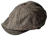 Homme grands Taille corps Vintage Cabbie Hat Gatsby lierre casquette irlandaise à la chasse routes Paperboy (60cm(L-XL), noir)