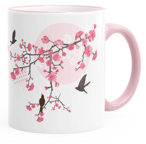 Autiga Kaffee-Tasse Kirschblüten Vögel Vogel Blumen Blüten Flower Cherry Tree Birds Tasse mit Farbkante rosa Unisize