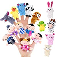 Pllieay 16 Pieces Finger Puppets Set Including 10 Pieces Animal and 6 Pieces People Family Members Educational Toys