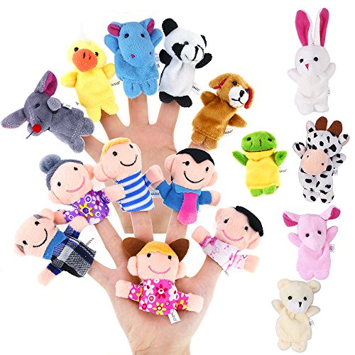 Biging 16 Stücke Finger Puppen Set einschließlich 10 Stücke Tiere + 6 Stücke People Family Members Educational Toys