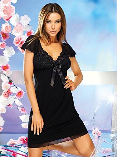 Donna Élégante nuisette en viscose avec fines broderies dans une jolie boîte cadeau Noir - Noir