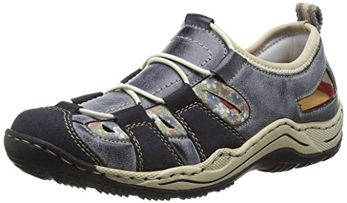 Rieker Damen L0561 Sneakers, Blau (Navy/Atlantic/Kornblume/beige / 14), 39 EU