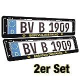 Borussia Dortmund Kennzeichenhalter, Nummernschildträger, Kennzeichenverstärker, Kennzeichenrahmen 2er Set BVB 09 Plus 2 x Gratis Aufkleber Forever Dortmund
