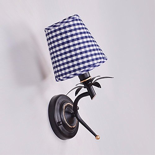 The bedside lamp retro Wall lamp corridors bed blue and white check fabric single Wall lamp,14*H32CM