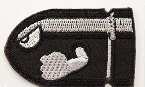 (Bullet Bill Patch Embroidered Iron on Badge Aufnäher Kostüm Fancy Kleid Kart/SNES/Mario World/Super Mario Brothers/Mario Allstars Cosplay)