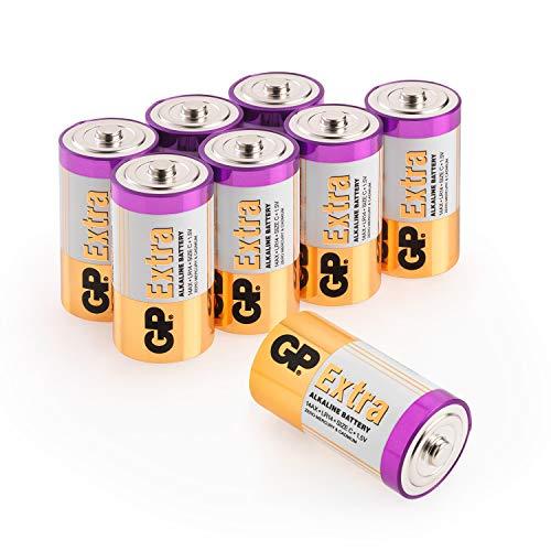 GP Extra Alkaline Batterien C (Typ Baby / LR14), Spannung 1,5 Volt (1,5V), ideal für die Stromversorgung von Geräten des täglichen Bedarfs (8 Stück Babyzellen im Vorratspack)