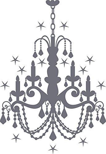GRAZDesign 850005_40_071 Wandtattoo mit Swarovski für Wohnzimmer Kronleuchter Sterne | Wand-Deko mit Sprüchen/Zitaten (58x40cm//071 grau//Swarovski Elements Set 12 Stück) (Alle Glas-kristall-kronleuchter)