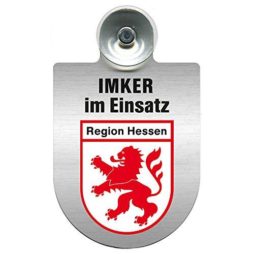 Einsatzschild mit Saugnapf Imker im Einsatz 309382 incl. Regionenwappen nach Wahl Farbe Region Hessen