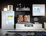 Wohnwand Anbauwand Wohnzimmerschrank 4-tlg. SIEGMUND | Weiß Hochglanz | LED-Beleuchtung