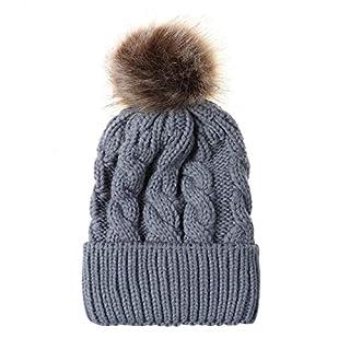 AZX Baby Winter Warm Knit Hat Colorful Fur Pom Bobble Hat Infant Toddler Kids Crochet Beanie Cap (Gray)