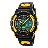 Amstt Unisex Sport Kinderuhren Jungen Mädchen Digital Wasserdichte Alarm Armbanduhr für das Alter 7-15 Jahre alt Kinder (Gelb)