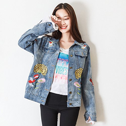 Xuanku Short Of Cowboy Yi Loose Embroidery Butterfly Short, Denim Jacket Embroidered Jacket Flower Femalem,Blue1895