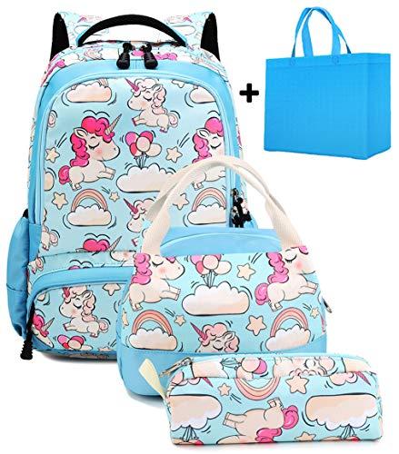 Mochila Escolar Chica Unicornio Linda Set de Mochilas con Bolsa del Almuerzo y Estuche de Lápices para Niñas Infantil Adolescentes Las Mujeres Viaje Bolso 3 en 1 Casual Backpack Azul