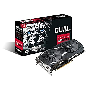 ASUS DUAL-RX580-O4G ROG Radeon RX 580 OC 4 GB GDDR5 PCI Express 3.0 Graphics Card - Black