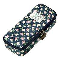 BTSKY Multifunction Waterproof Retro Flower Floral Pen Pencil Case Holder Bag - Storage Bag with Flower Pattern, Makeup Pouch, Zipper Bag, School Students Stationery for Girls(Dark Blue)
