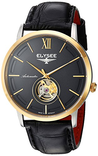 Elysee Picus Mens Watch Black/Gold with Black Leather Strap