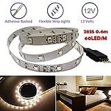 Wokee 0.6M RGB LED Streifen mit Bewegungsmelder und Stecker, 12V-Licht-Streifen-Lampe mit 36LED Sensor LED Schrankleuchte 36 LEDs RGB 2835 SMD Flexible 12V-Licht-Streifen-Lampe