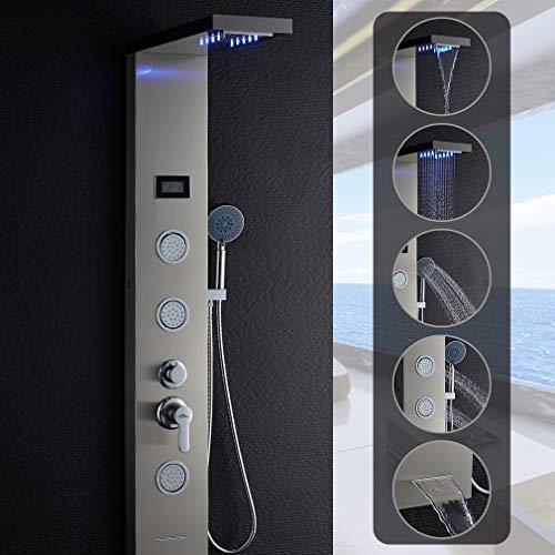 Auralum LED Duschpaneel Regendusche Edelstahl, 3x Massagedüsen, Mit Display, Duscharmatur mit Handbrause