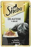 Sheba Adult Katzen-/Nassfutter, für erwachsene Katzen Delikatesse in gelee, mit Huhn, 12 Portionsbeutel (12 x 85 g)