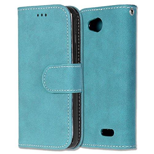 LG L90 Hülle, Chreey Matt Leder Tasche Retro Handyhülle Magnet Flip Case mit Kartenfach Geldbörse Schutzhülle Etui [Blau]