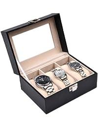 Sinoba Uhrenkoffer Uhrenbox Schaukasten Uhrenkasten Uhrenvitrine für 3 Uhren Leder-Look Echtglas-Fenster