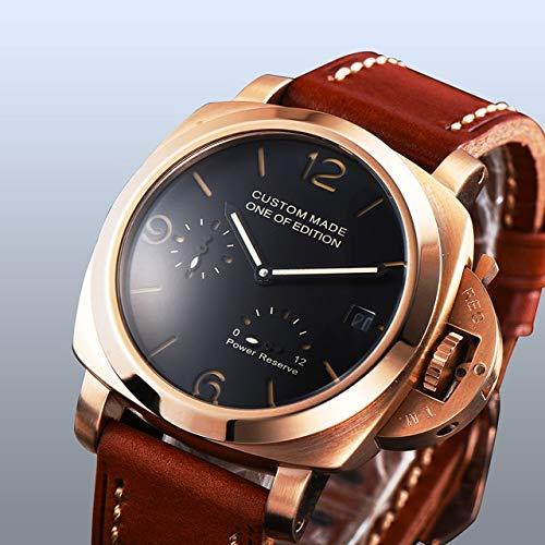 CHASO Uhr 42Mm Automatik Parnis Silber Edelstahl Uhr Schwarzes Zifferblatt Qualität Braunes Lederband Kalender Leuchtzeiger 2
