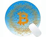 Yanteng Tappetino per Mouse Rotondo con Bordo di Chiusura, Ricambio per Mouse Rotondo Bitcoin Dollar con Bordo Cucito