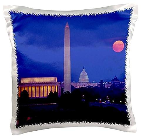 3drose PC _ 189594_ 1Moonrise Over Lincoln Memorial, Monument de Washington, Washington DC–Taie d'oreiller, 16par