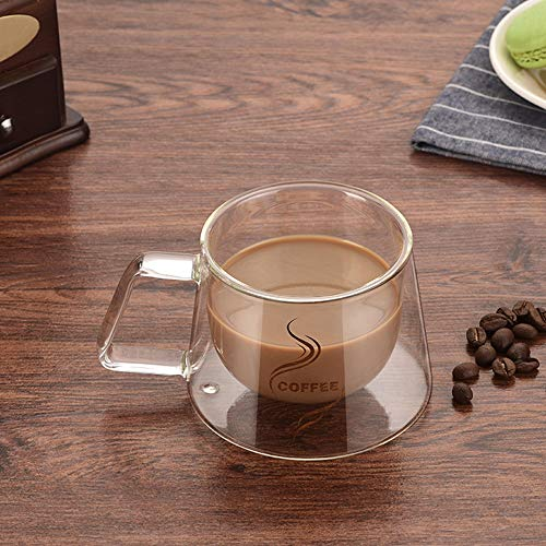 Zsaimd tazza a doppia parete ufficio tazze isolamento termico doppio caffè tazza da caffè tazza di vetro drinkware latte isolato con manico coppe da caffè per uso quotidiano perfette per macchine da c
