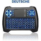 ANEWKODI Mini Tastatur mit Touchpad Beleuchtete Kabellose 2,4GHz Wireless Keyboard, Wiederaufladbare Batterie, für Smart TV, HTPC, IPTV, Android TV Box, XBOX360, PS3, PC, usw (Deutsch Tastatur)