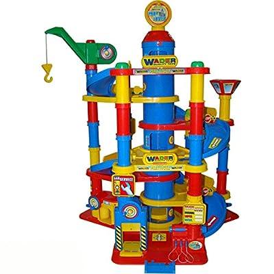 Wader Park Garage Tower, 7 Ebenen, Waschanlage, Tankstelle und Autos, 59 x 77 cm - Spielzeug Parkgarage Parkhaus Spielstrasse Autos von Hummelladen