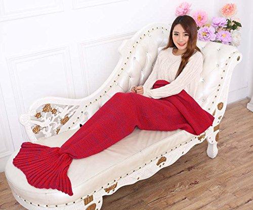 Zmsj-lavorati a maglia Handmade Mermaid Tail Coperta, Sofa Quilt Soggiorno Coperta Mermaid per adulti e bambini 180cmX90cm (Rosso)