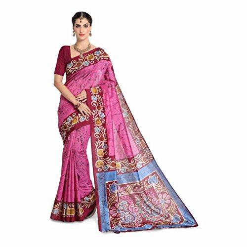 Printed, Paisley Bhagalpuri Art Silk Saree (Pink, Maroon) Paisley Printed Silk Dress