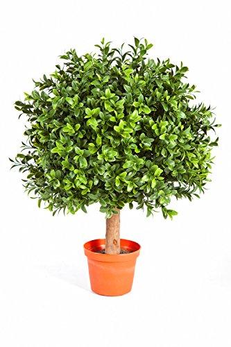 artplants Künstliche Buchskugel Tom auf Stamm, 250 Blätter, 35 cm, Ø 25 cm – Künstlicher Buchsbaum Buxkugel Buchsbaumkugel