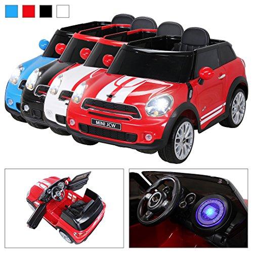 Kinder Elektro Auto Mini Cooper Paceman John Cooper Works Kinderauto Elektroauto Lizenziert 2 x 45 Watt Motor (Rot)