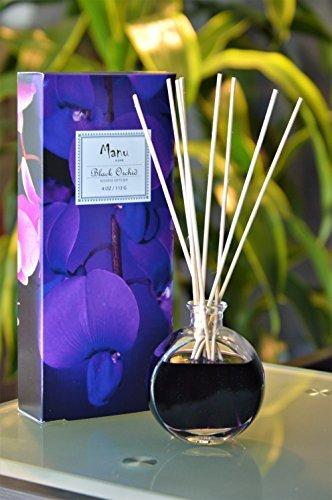 MANU HOME Black Orchid Diffuser Geschenkset–Made mit ätherischen Ölen ~ inklusive natur-Set der Sticks ~ Made in den USA ~ (Orchid Black Set)