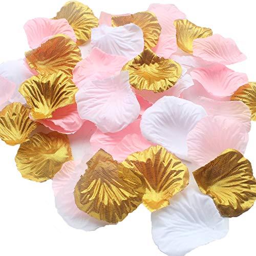 Erosion 1200 STÜCKE Gemischt Rosa Gold Weiß Hochzeit Blume Mittelstücke Künstliche Blume Tisch Konfetti Streusel Blumenmädchen Korbfüller Gang Decor Favor (Mittelstücke Weißen Und Gold)
