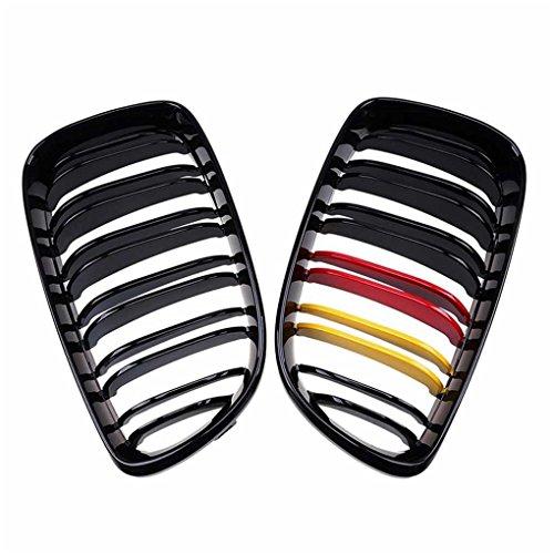 Meisijia Grilles de rein avant M-color noir brillant à double ligne compatible avec 1 série E81 E87 120d 120i 130i 08-11