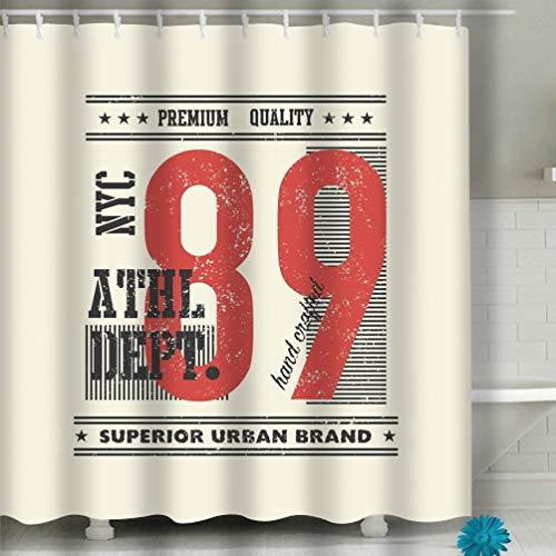 hyjhytj Beach Shower Curtain Vintage Typography urban Fabric Bathroom Decor 60 X 72 Inch