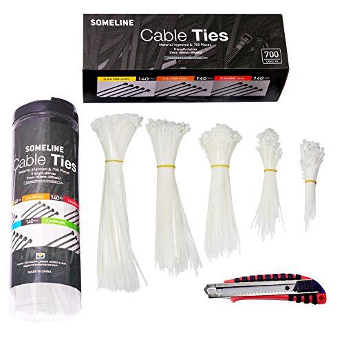 Kabelbinder Set mit Cuttermesser 100/150/200/250/300mm SOMELINE Kabelbinder 700 Stück Weiß