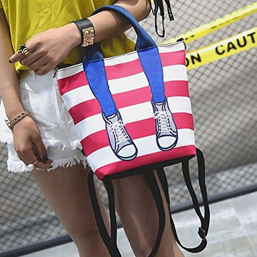 AiSi Damen Canvas süße Streifen Handtasche City Rucksack Daypack Schultertasche Henkeltasche Canvas-Tasche Segeltuchtasche mit Reißverschluss, Cartoon Muster, rot Rot