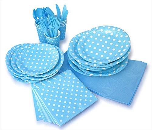 LolliZ Party Pack For 8, Blue & Polka Dots Design by LolliZ