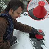 Windshield Ice Scraper Jaminy Scrape A Round Magic Cone-Shaped Snow Shovel Tool (Red)