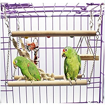 Gaddrt Animal Activity Toy Parrot Climbing Net Parrot Ladder Swing Budgie Hanging Toy Suspension Bridge Hammock Swing Ladder 3