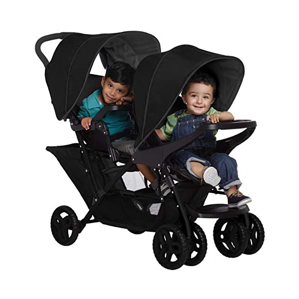 Graco Stadium Duo Click Connect Tandem Pushchair, Black/Grey Graco Compatible with all graco click connect car seats, which can be easily added to the tandem chassis with just one click. Folded-Length:66cm, Height: 109cm Convenient one-hand standing fold, featuring an automatic storage latch that folds effortlessly. Maximum weight capacity is 15 Kg. Stadium-style seating positions with slightly higher rear seat, so that both children can see the world around them 4