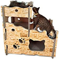 Dhrfyktu Cat Castle, Cat House Cat Scratch Board Papel Corrugado Marco de Escalada Cat Cat