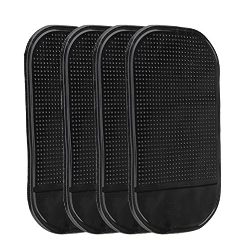 Demiawaking 4PCs schwarzes magisches klebriges Anti-Rutsch-Matte Auto-Armaturenbrett für Handy