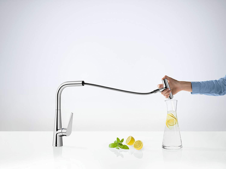 Hansgrohe–Grifo de cocina mezclador, comodidad de altura 300mm, con caño extraíble y manguera Caja, cromo