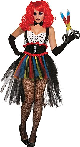 Damen unheimlich Halloween Kostüm Party Outfit HORROR Böse Mädchen Clown Kostüm - Multi, One ()